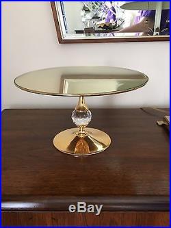 VALERIO ALBARELLO SWAROVSKI CRYSTAL Pedestal Cake Stand Plate Signed RARE