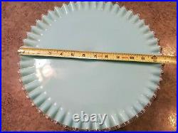 VERY RARE Vintage Turquoise Silver Crest Large Pedestal Cake Serving Plate 13