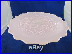 VINTAGE FENTON PINK Spanish Lace Milk Glass Pedestal Cake Stand/Plate Scalloped