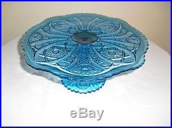 Vintage Imperial Glass Ig Daisy & Button Blue Pedestal Cake Plate Rare Gorgeous
