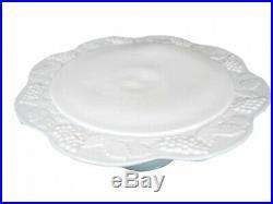 VINTAGE MILK GLASS PEDESTAL CAKE PLATE RAISED GRAPE & VINE Scalloped edge