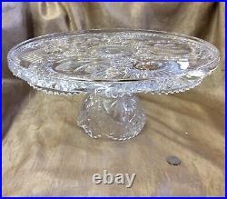 VNT Gorgeous Hofbauer Byrdes Collection Crystal 12 Pedestal Cake Plate CS