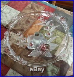 VTG Crystal Rose Art Glass Cake Plate Frosted Pedestal Heavy Round Platter 14