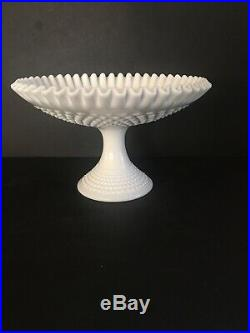 VTG Fenton Ruffled Hobnail Milk Glass 7 Footed Pedestal Cake Plate/fruit Bowl