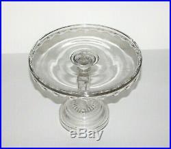 Very RARE Horseshoe stem pedestal cake stand plate -EAPG O'hara Glass Co 1880s