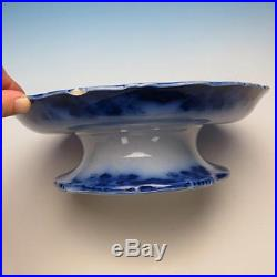 Very Rare Flow Blue Sobraon Pattern Pedestal Cake Plate Stand
