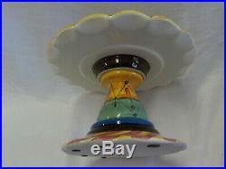Vicki Carroll Ceramic Art Pottery Pedestal Cake Plate Hand Thrown & Paint Signed