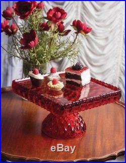 Victorian Trading Co Elizabeth Mosser Pedestal Cake Plate Ruby Red