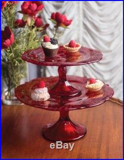 Victorian Trading Co Mosser Glass Thistle Pedestal Cake Plate Dish Ruby Red LG