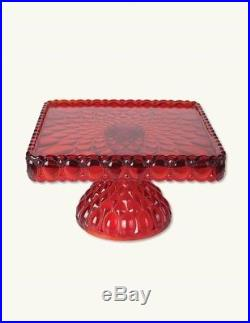 Victorian Trading Co NWOT Elizabeth Mosser Pedestal Cake Stand Plate Ruby Red