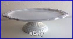 Vietri Antico Bianco White Baroque Footed Cake Plate Stand Pedestal Server