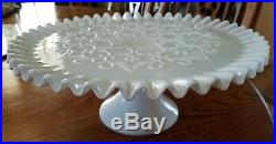 Vint Fenton Ruffle Hobnail Lace Milk glass Milkglass pedestal cake plate stand