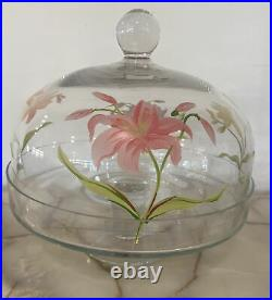 Vintage 10 Diameter Pedestal Cake Plate Glass & Painted Flower Glass Dome Lid