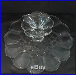 Vintage 11-1/2 Gyroscope Patterned Crystal Pedestal Cake Plate