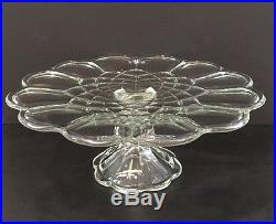 Vintage 11-1/2 Round Gyroscope Patterned Crystal Pedestal Cake Plate Beautiful
