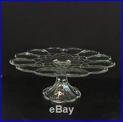 Vintage 11-1/2 Round Gyroscope Patterned Crystal Pedestal Cake Plate Stunning