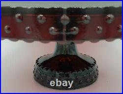 Vintage 11 Ruby Glass L E Smith Hobnail Pedestal Cake Stand Plate Holiday Red