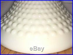 Vintage 12.5 Cake Plate Stand Fenton Hobnail Pedestal Ruffled White Milk Glass
