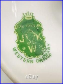 Vintage 1930s JKW BAVARIA WESTERN GERMANY FOOTED PEDESTAL CAKE PLATE ROSES