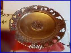 Vintage 1950's Brass Grape Design Pedestal Cake Plate