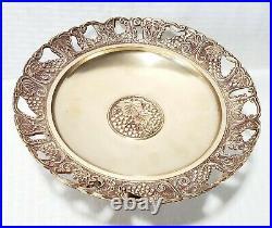 Vintage 1950s Brass Grape designed / Cake Plate / Pedestal Dish Made in R. O. K