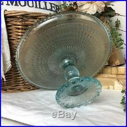 Vintage 1950s Jeanette Harp Blue Ice Diamond Pattern Pedestal Glass Cake Plate