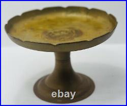 Vintage 1950s Solid Brass LOTUS / Cake Plate / Pedestal Dish Made in R. O. K
