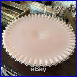 Vintage 40s50s Fenton Pink Crest Pedestal Cake Plate Stand 13