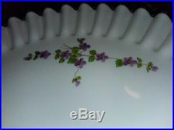 Vintage 70's Fenton Violets in the Snow Cake Plate Pedestal -Silver Crest