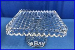 Vintage American Fostoria Crystal Clear Glass 9.25 Pedestal Square Cake Plate