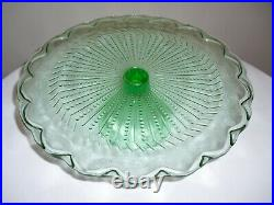Vintage BEAUTIFUL Green Cake Pedestal Plate / Stand 11.5x 3.5 GORGEOUS