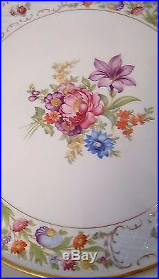 Vintage Bavaria Schmann Empress Dresden Flowers Pedestal Cake Plate