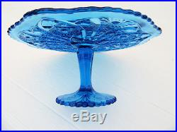 Vintage Blue Glass Pedestal Cake Stand Imperial Glass Ig Daisy Button Cake Plate