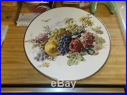 Vintage Cake Plate Dessert Pedestal Stand Porcelain Insert and Stainless Steel