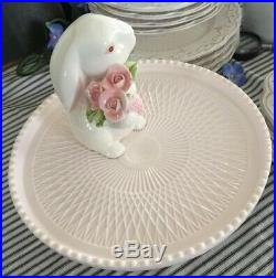 Vintage Cake Plate, Pedestal, Jeannette, Pink Milk Glass, 1950s, Beaded