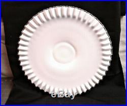 Vintage Cake Plate Silver Crest Milk Glass Low Footed Pedestal 15