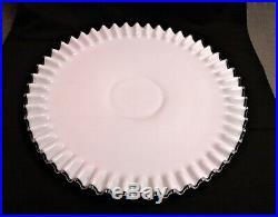 Vintage Cake Plate Silver Crest Milk Glass Low Footed Pedestal 15