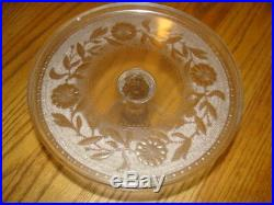 Vintage Cake Stand Pedestal Clear Glass With Pattern On Plate