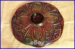 Vintage Carnival Glass Cake Plate Heirloom Pattern By Indiana Glass & Pedestal