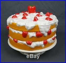 Vintage Ceramic Strawberry Shortcake Pedestal Covered Cake Plate Dome