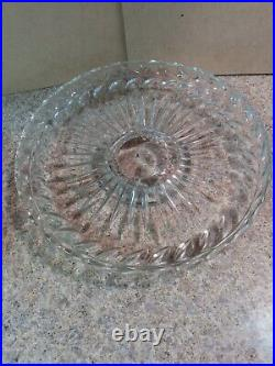 Vintage Clear Glass 12 3/8 Cake Plate with Heavy Dome Cover Pedestal Base Stand