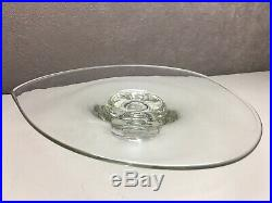 Vintage Clear Glass Short Pedestal Cake Plate Stand Unusual Shape Serving Tray