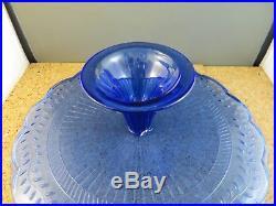 Vintage Cobalt Blue Depression Glass Cake Stand Pedestal Plate 12 Vine Leaf