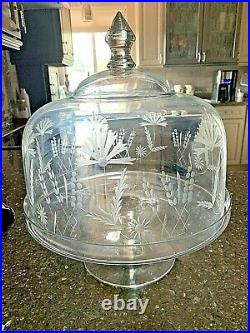 Vintage Crystal Etched Floral Pedestal Dome Cake Plate 14.5 Romania Free Ship