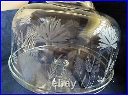 Vintage Crystal Pedestal Dome Cake Plate Etched Crystal Dome
