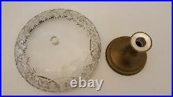 Vintage Cut Glass And Brass Pedestal Cake Plate