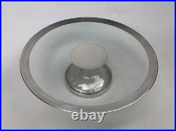 Vintage Dorothy Thorpe Silver Band GLASS PEDESTAL CAKE PLATE Baked Goods Stand
