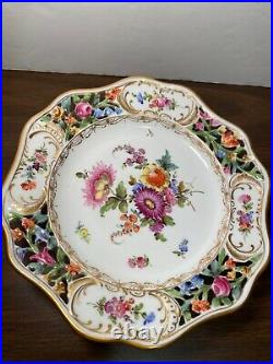 Vintage Dresden GermanCarl Thieme Pedestal Cake Plate Compote Stand Reticulated