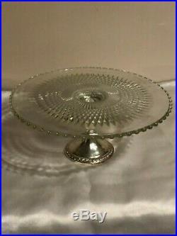 Vintage Duchin Sterling Pedestal Glass Cake Plate Signed