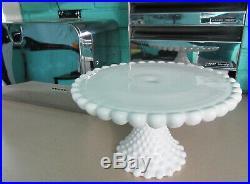 Vintage Duncan & Miller White Milk Glass Hobnail Cake Stand Plate Pedestal Base
